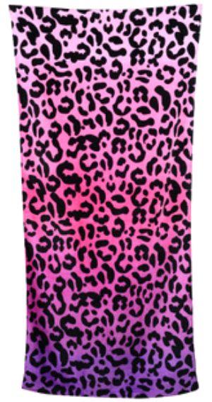 出口美国沃尔玛外贸原单正品豹纹纯棉加大浴巾毛巾