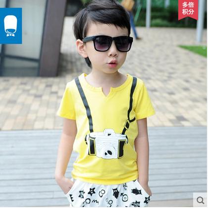 小小莎啦2015夏季新款童装 儿童棉夏装 可爱照相机印花短袖t恤