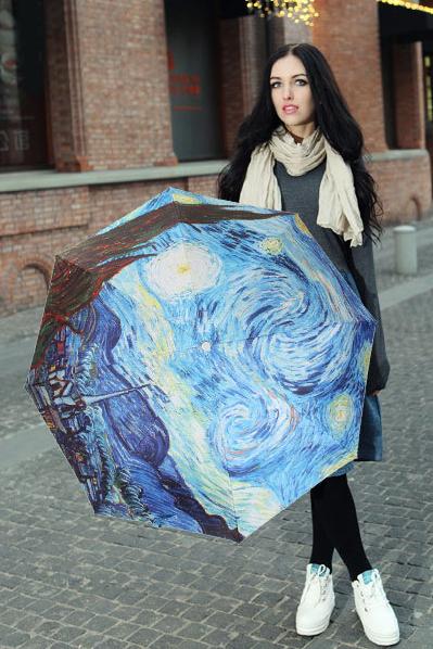 包邮创意雨伞 油画系列 梵高作品星空 防晒挡雨三折晴雨伞