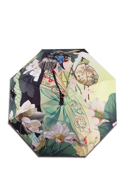 包邮 创意雨伞 中国风系列 倾世名伶 防晒挡雨三折晴雨伞