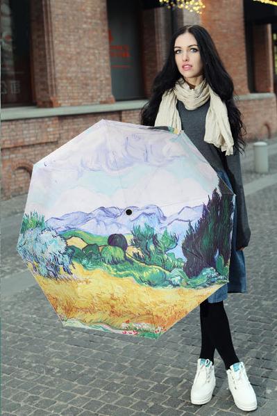 包邮创意雨伞 油画系列 麦田 防晒挡雨三折晴雨伞