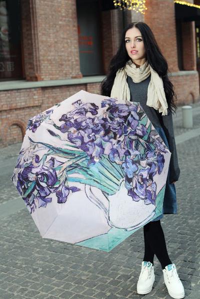 包邮创意雨伞 油画系列 鸢尾花 防晒挡雨三折晴雨伞