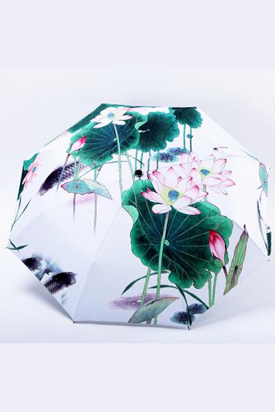 包邮 创意雨伞 中国风系列 荷塘戏水 防晒挡雨三折晴雨伞