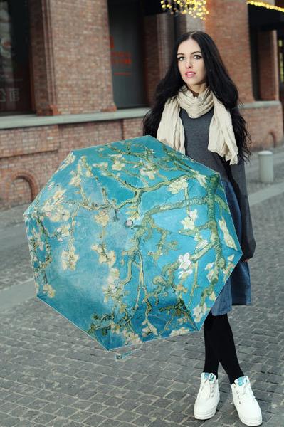 包邮创意雨伞 油画系列 梵高作品杏树 防晒挡雨三折晴雨伞