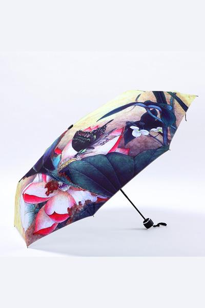 包邮 创意雨伞 中国风系列 蝶恋花 防晒挡雨三折晴雨伞