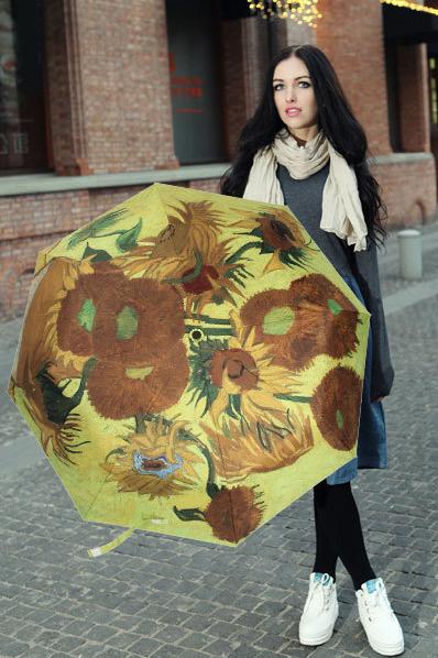 包邮创意雨伞 油画系列 梵高作品向日葵 防晒挡雨三折晴雨伞