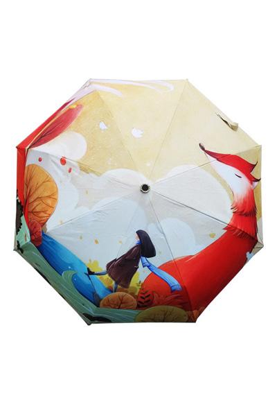 包邮 创意雨伞 狐狸少女 防晒挡雨三折晴雨伞