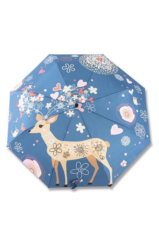包邮 创意雨伞 花开麋鹿 防晒挡雨三折晴雨伞