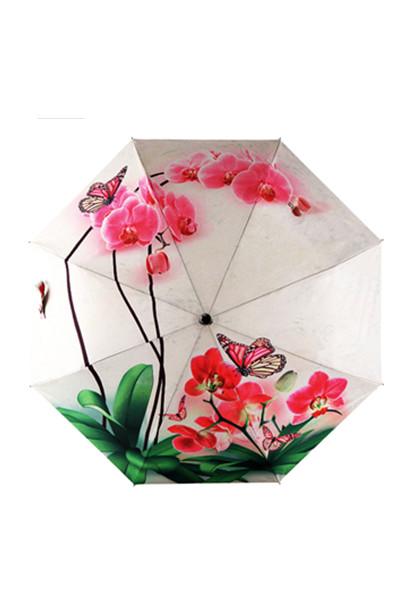 包邮 创意雨伞 蝴蝶兰 防晒挡雨三折晴雨伞
