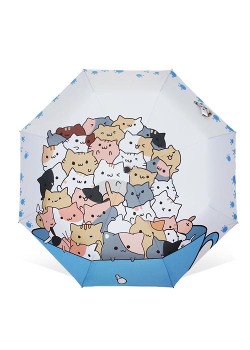 创意雨伞 杯子里的猫 防晒晴雨三折伞