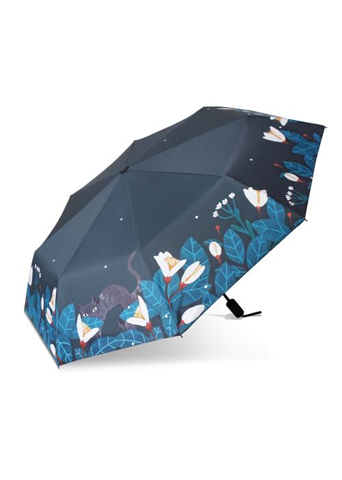 创意雨伞 百合猫咪 防晒挡雨三折晴雨伞